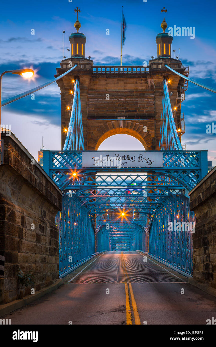 The John A. Roebling Suspension Bridge spans the Ohio River between Cincinnati, Ohio and Covington, Kentucky. When - Stock Image