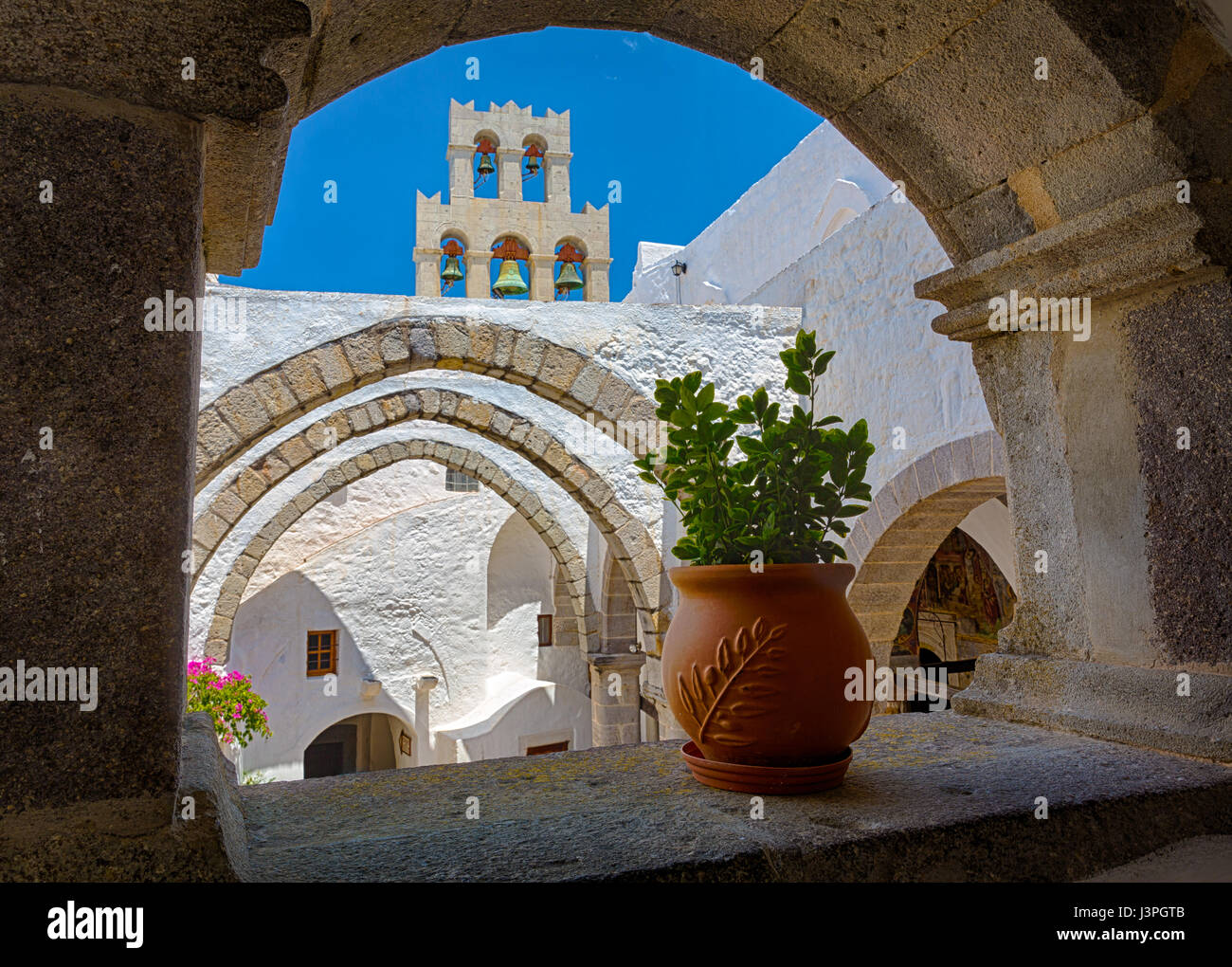 Monastery of Saint John the Theologian on the Greek island of Patmos. Monastery constructed in the 11th century, - Stock Image