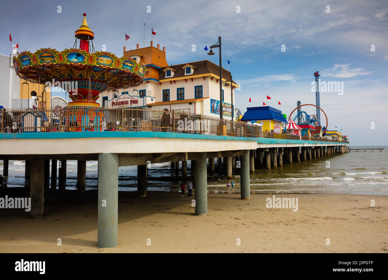 Galveston is a coastal city located on Galveston Island and Pelican Island in the U.S. state of Texas. Named after - Stock Image