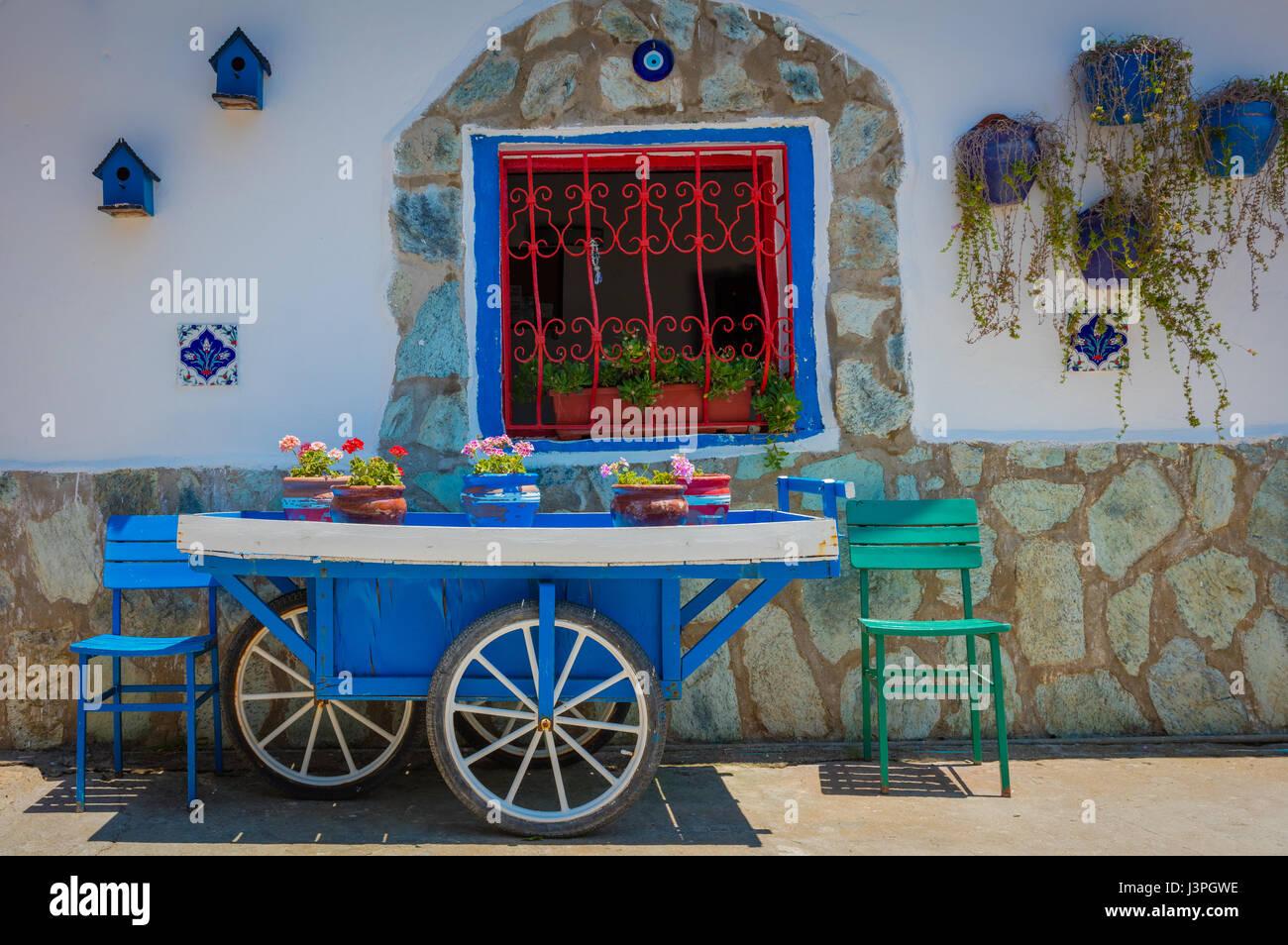 Cart at rug maker near Selçuk, Turkey - Stock Image