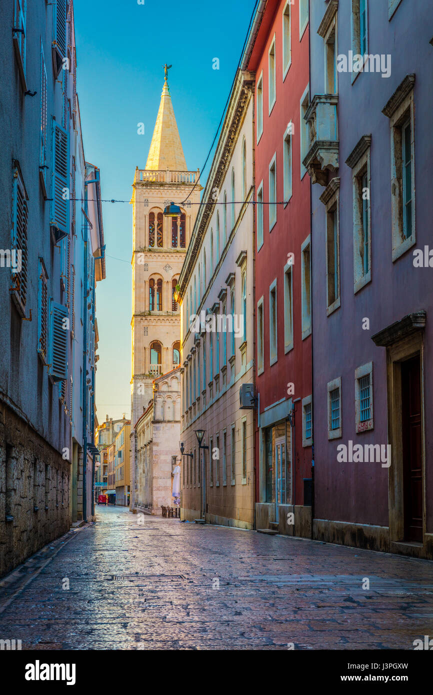 Cathedral of Saint Anastasia in Zadar, Croatia. Zadar is the 5th largest city in Croatia situated on the Adriatic - Stock Image