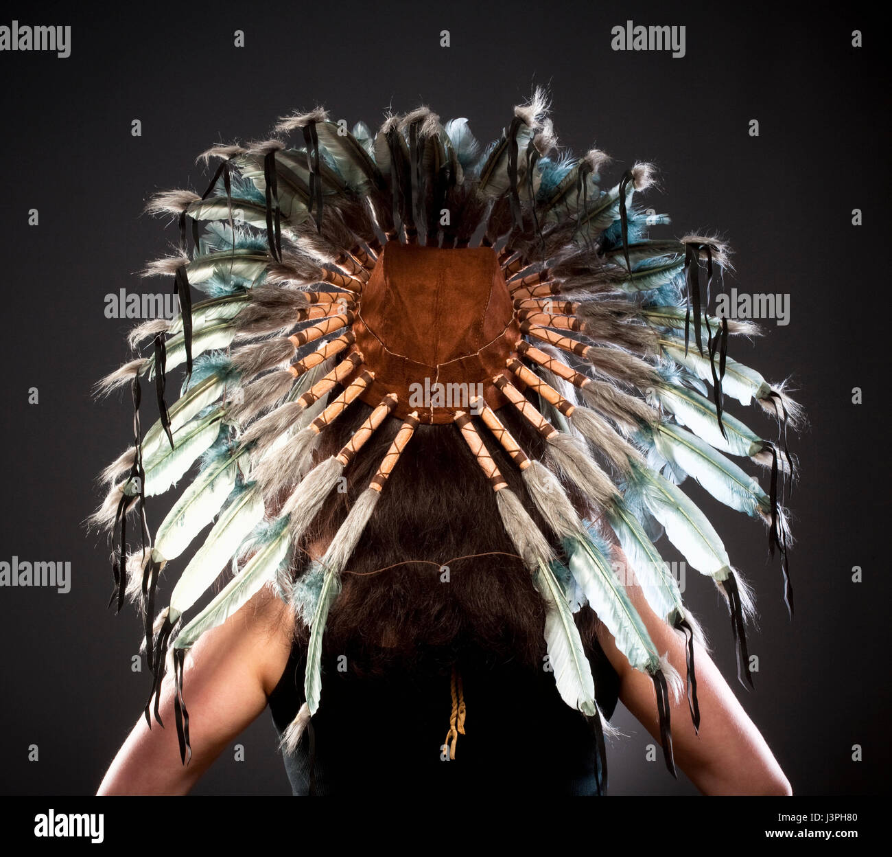 Rear View of Indian Chief War Bonner Headdress - Stock Image
