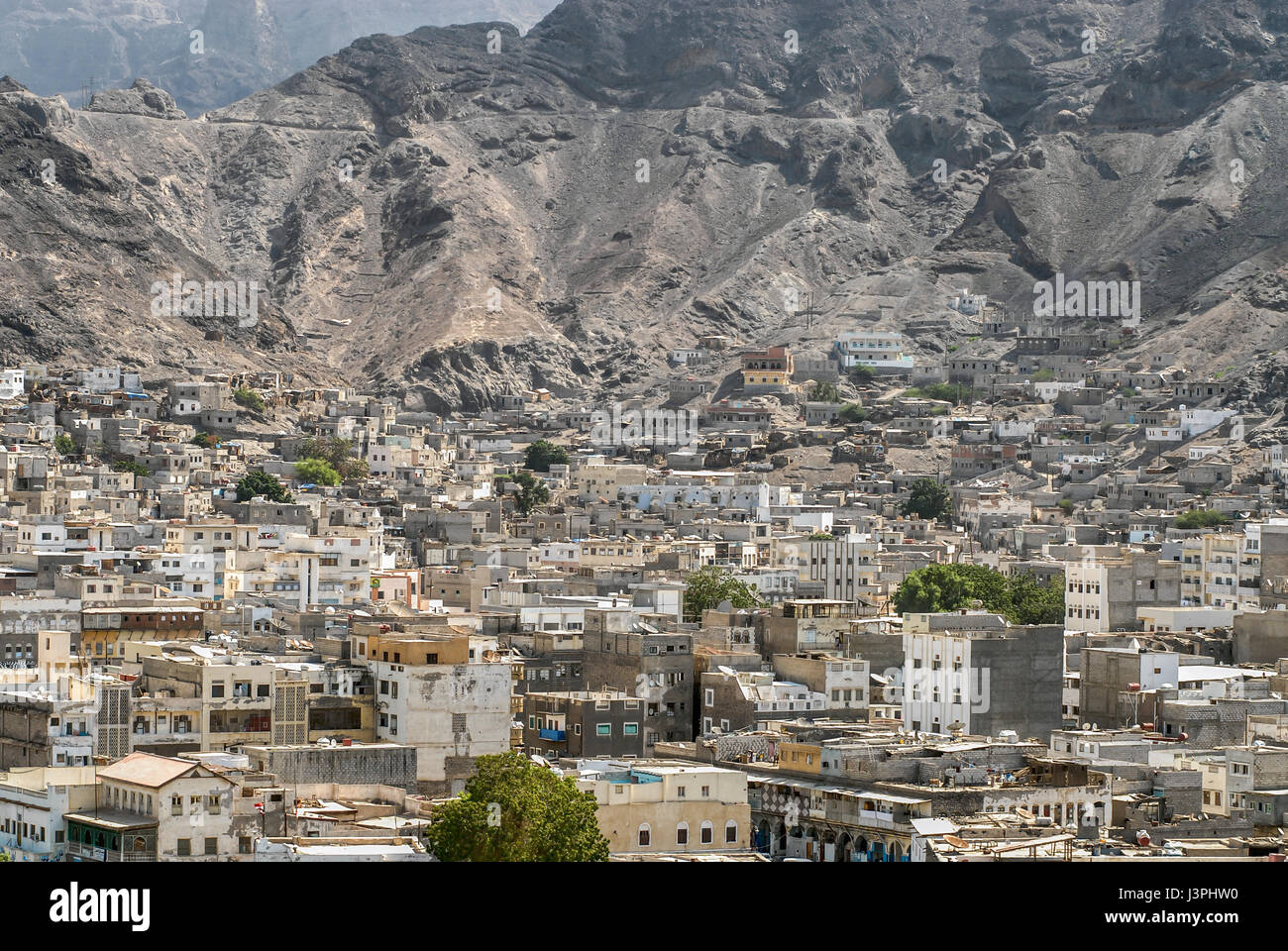 View over the ancient city centre of Aden, Yemen - Stock Image