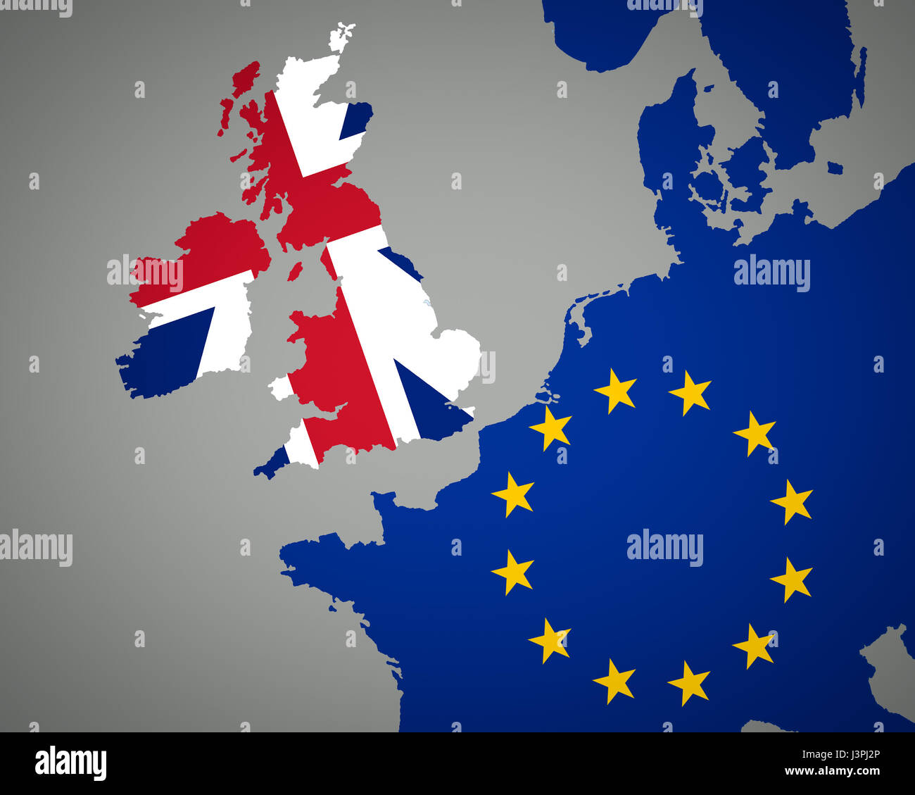 map of europe with union jack for england and eu flag for europe