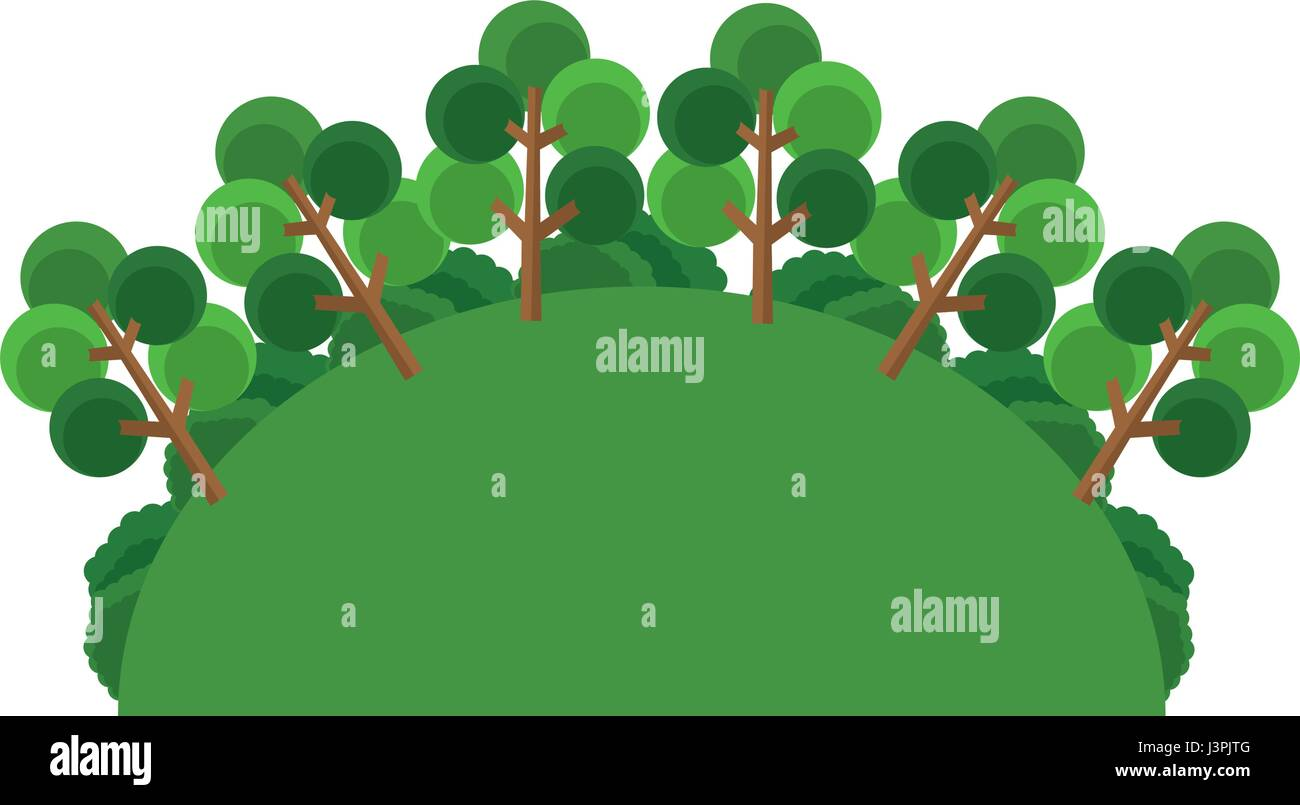 greenery tree forest landscape natural Stock Vector