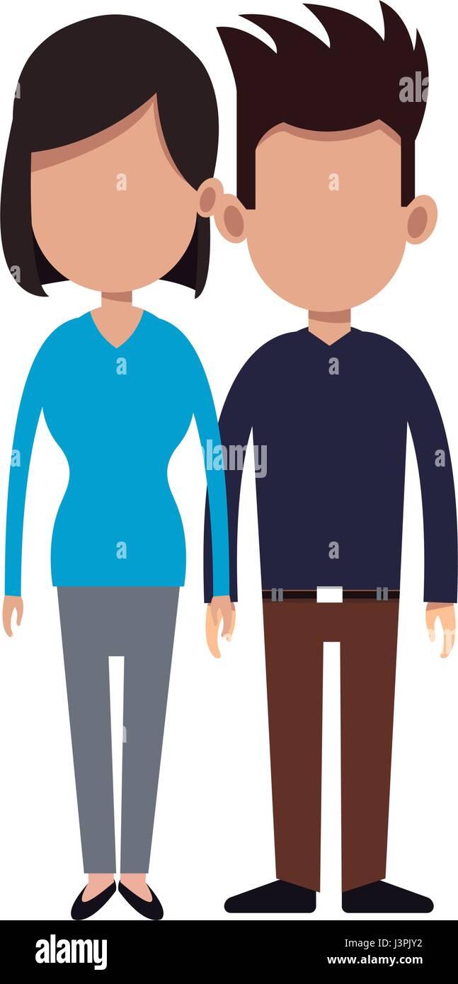 Cartoon couple holding hand romantic image