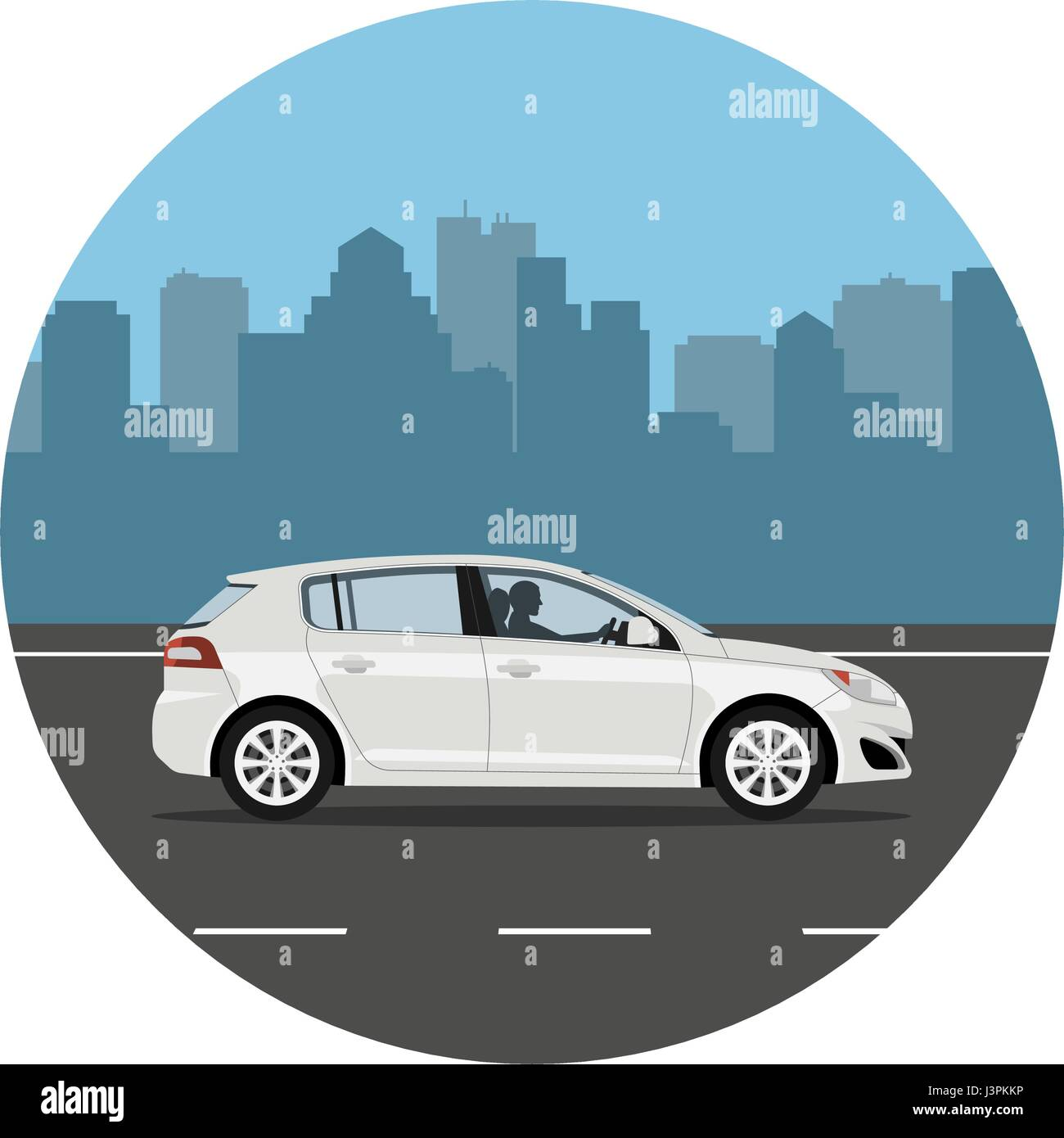 Car on the road over city background. Man driving the white hatchback. Vector illustration. Flat design, without - Stock Vector