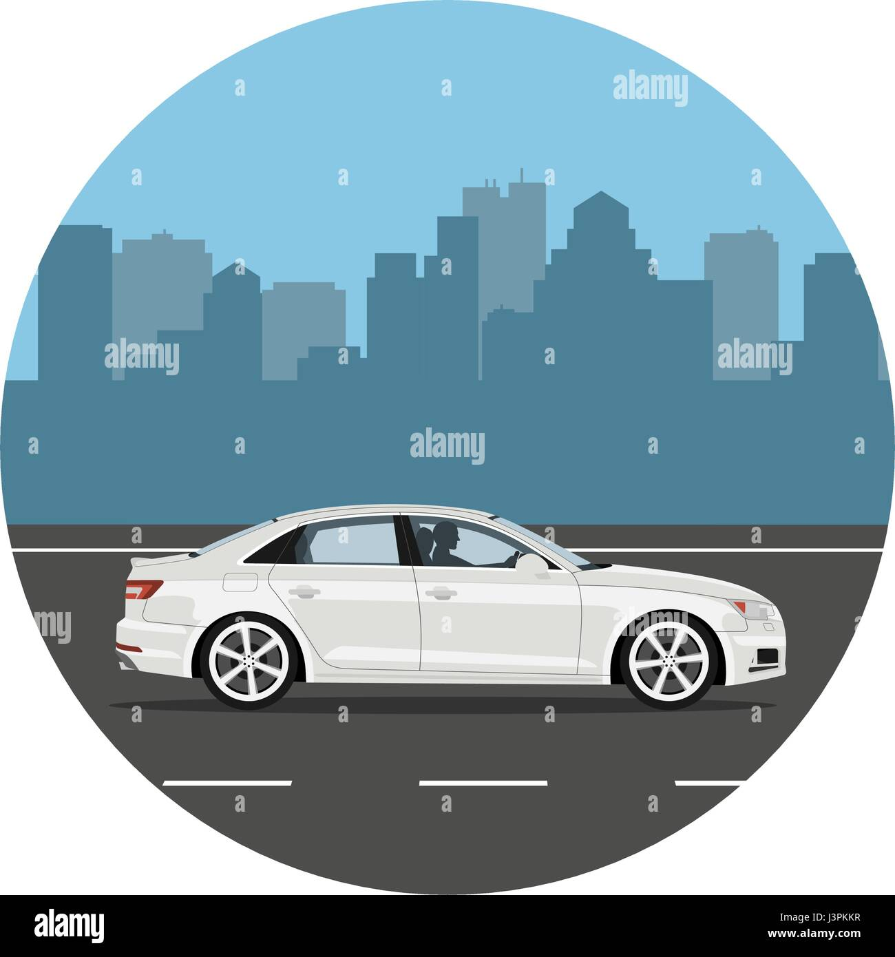 Car on the road over city background. Man driving the white sedan. Vector illustration. Flat design, without gradients. - Stock Vector