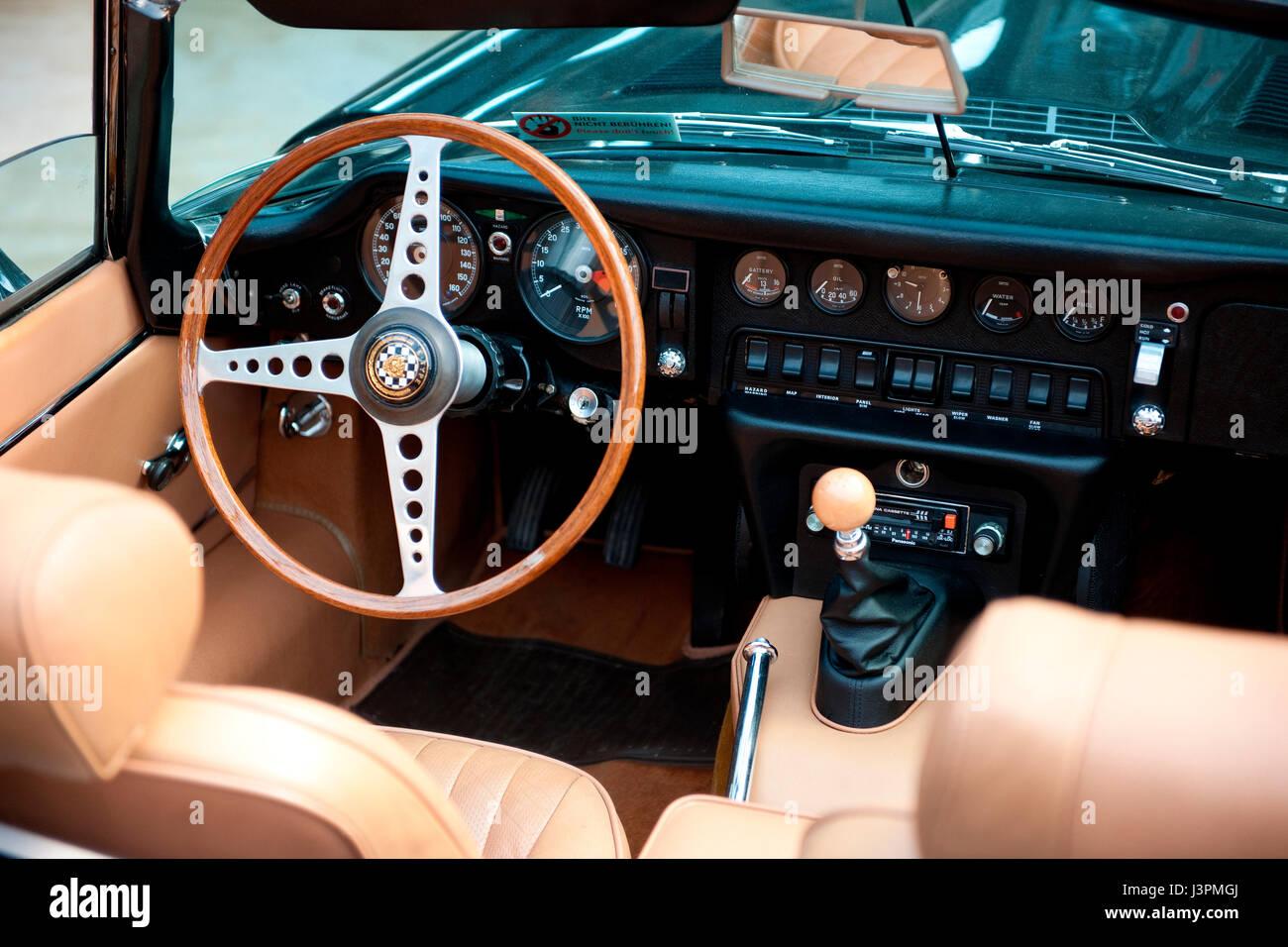 Jaguar E Type Classic Car Cockpit With Wooden Steering Wheel Gear