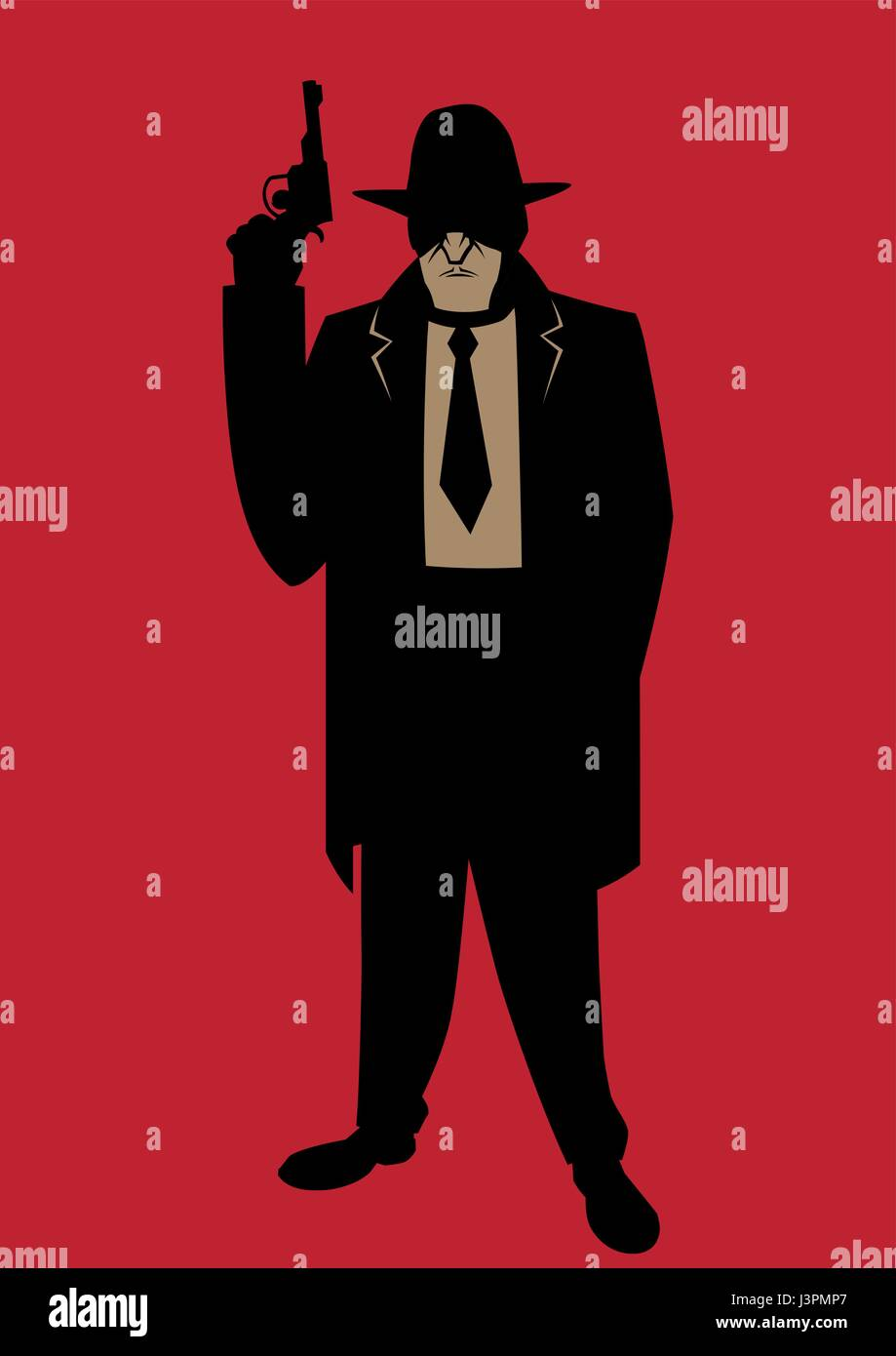 Cartoon illustration of gangster from the Prohibition era. - Stock Vector