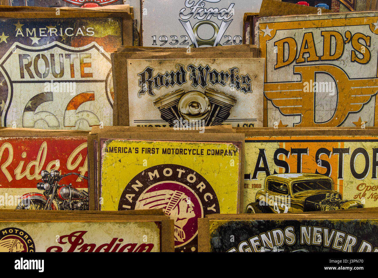 STUTTGART, GERMANY - MARCH 03, 2017: Background of vintage advertising signs. Europe's greatest classic car exhibition Stock Photo