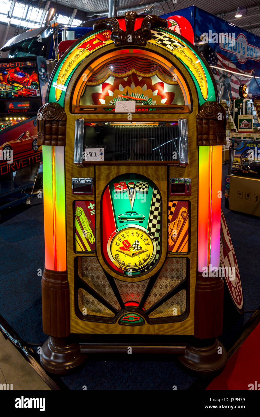 "STUTTGART, GERMANY - MARCH 03, 2017: Vintage musical jukeboxe. Europe's greatest classic car exhibition ""RETRO CLASSICS"" Stock Photo"