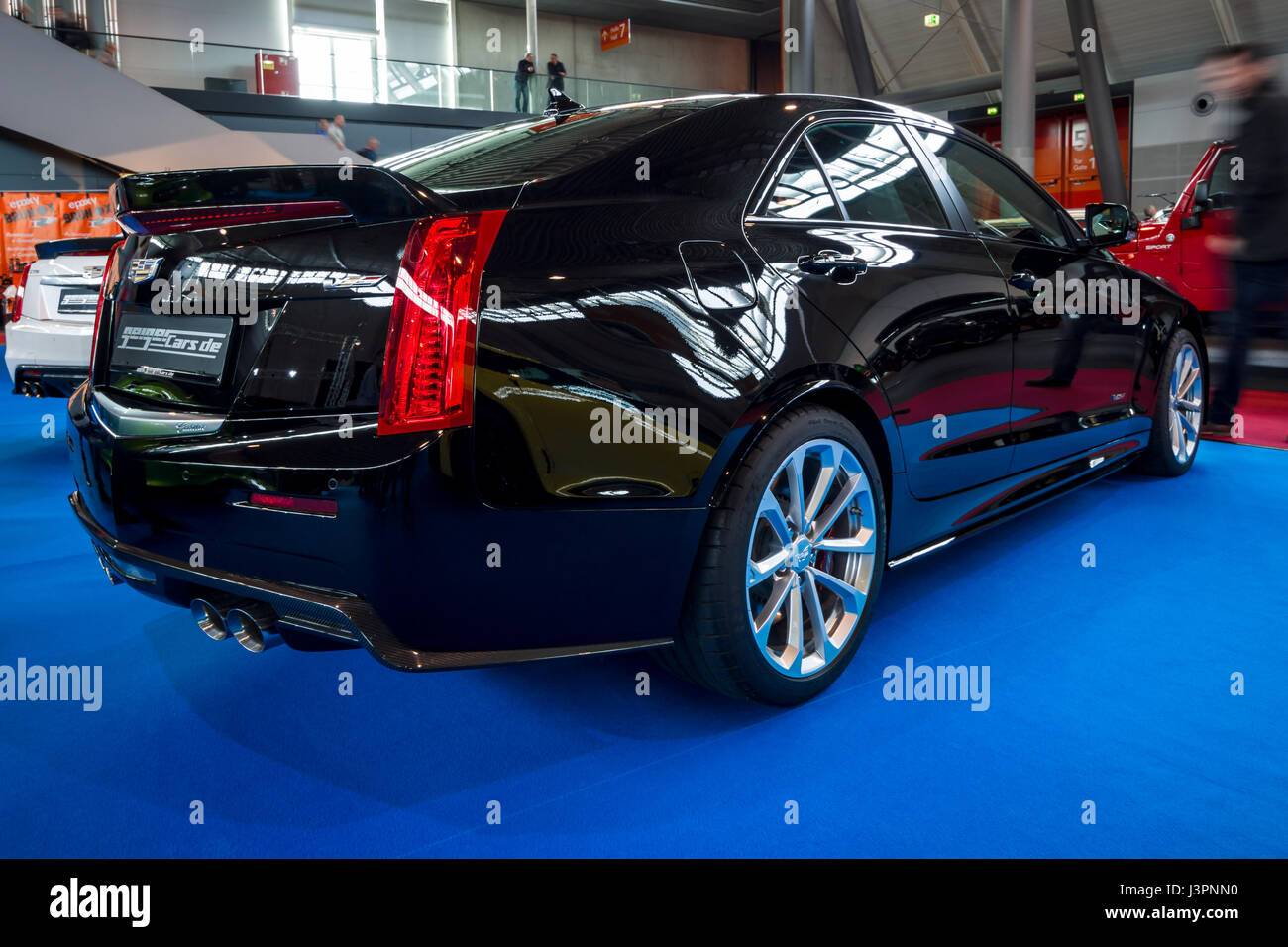 STUTTGART, GERMANY - MARCH 03, 2017: Entry-level luxury car Cadillac ATS-V, 2016. Rear view. Europe's greatest - Stock Image