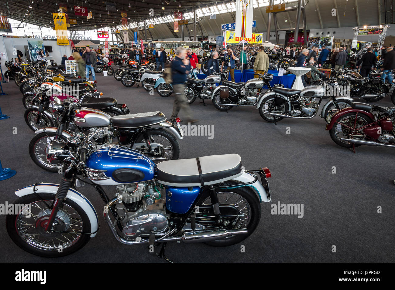 STUTTGART, GERMANY - MARCH 03, 2017: Exhibition pavilion with various motorcycles. Europe's greatest classic car Stock Photo