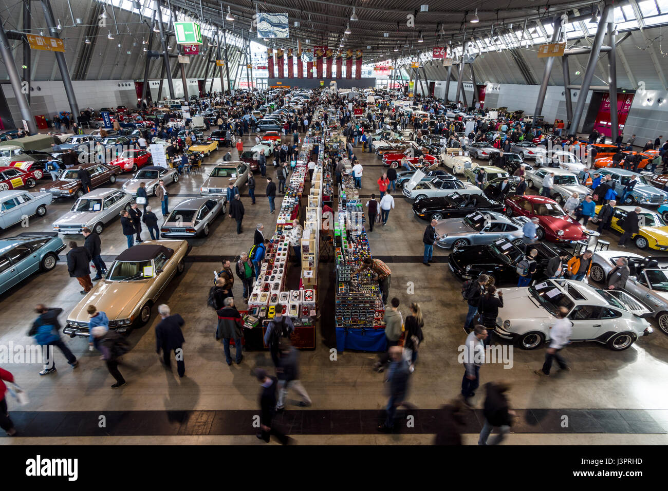 STUTTGART, GERMANY - MARCH 03, 2017: Exhibition pavilion with various cars. View from above. Europe's greatest classic Stock Photo