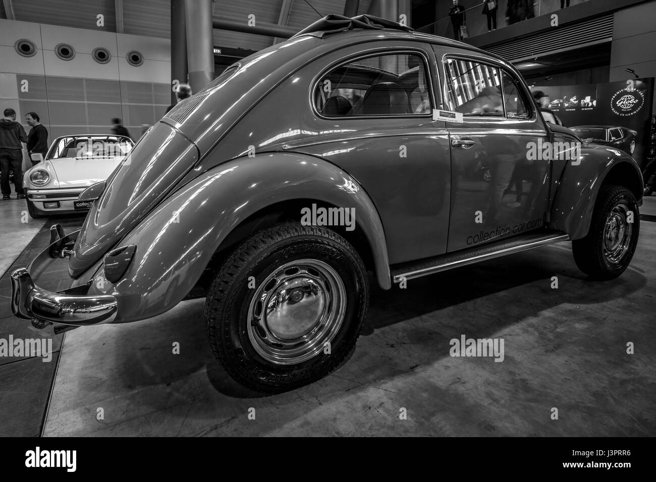 STUTTGART, GERMANY - MARCH 03, 2017: Subcompact Volkswagen Beetle, 1973. Rear view. Black and white. Europe's - Stock Image