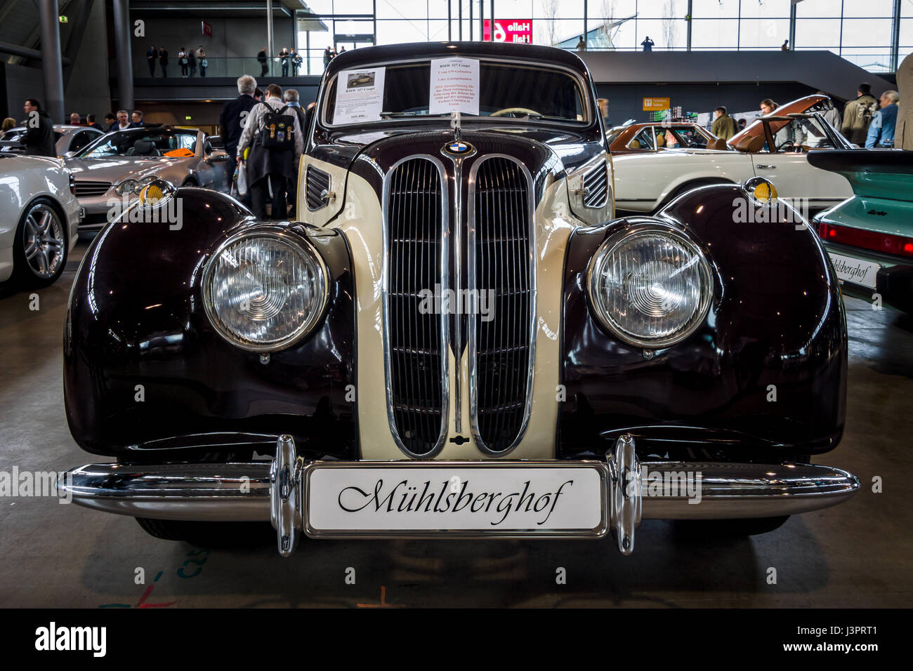 STUTTGART, GERMANY - MARCH 03, 2017: Grand tourer car BMW 327 Coupe, 1950. Europe's greatest classic car exhibition - Stock Image