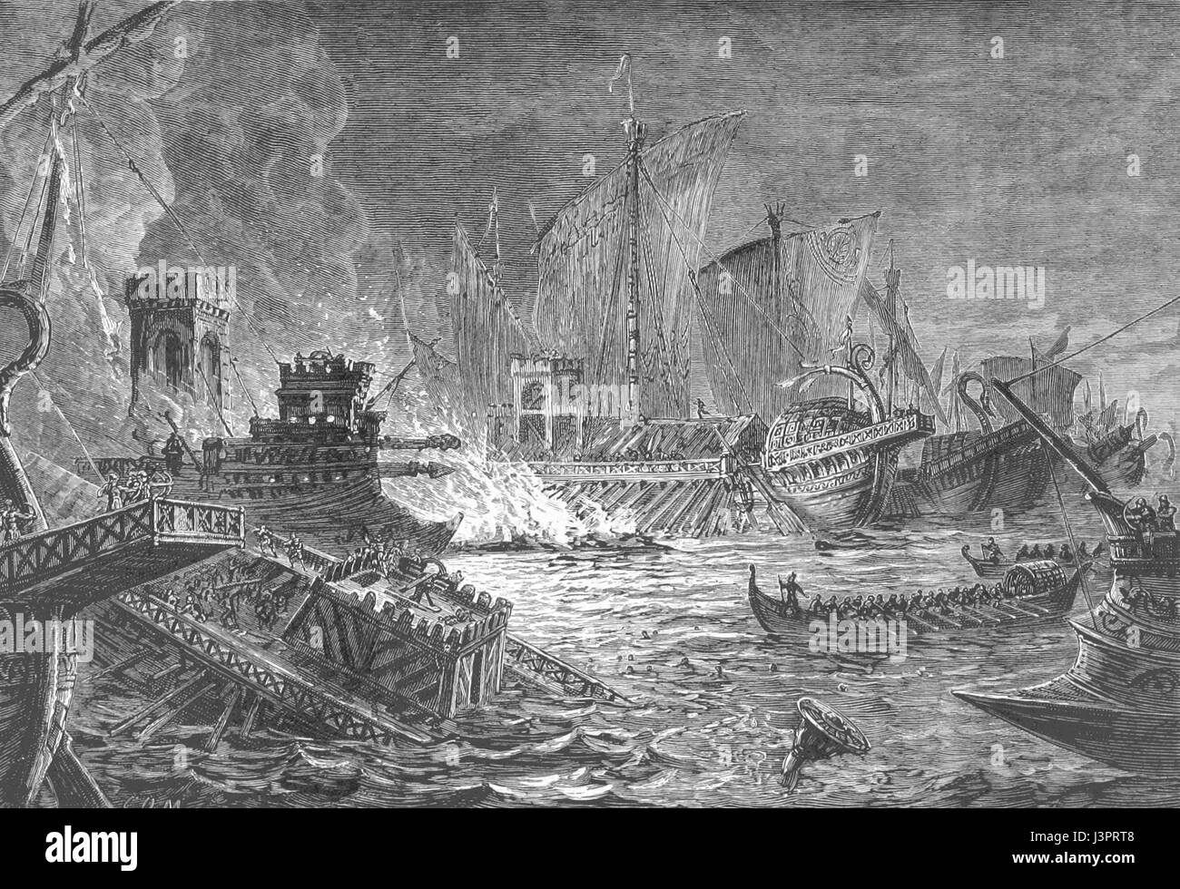 The Battle of Actium was the decisive confrontation of the Final War of the Roman Republic, a naval engagement between - Stock Image
