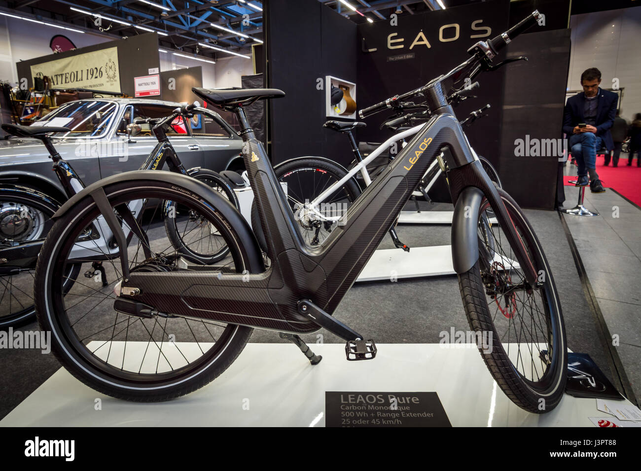 STUTTGART, GERMANY - MARCH 03, 2017: E-Bike Leaos Pure Nuvinci 500 Wh. Europe's greatest classic car exhibition - Stock Image