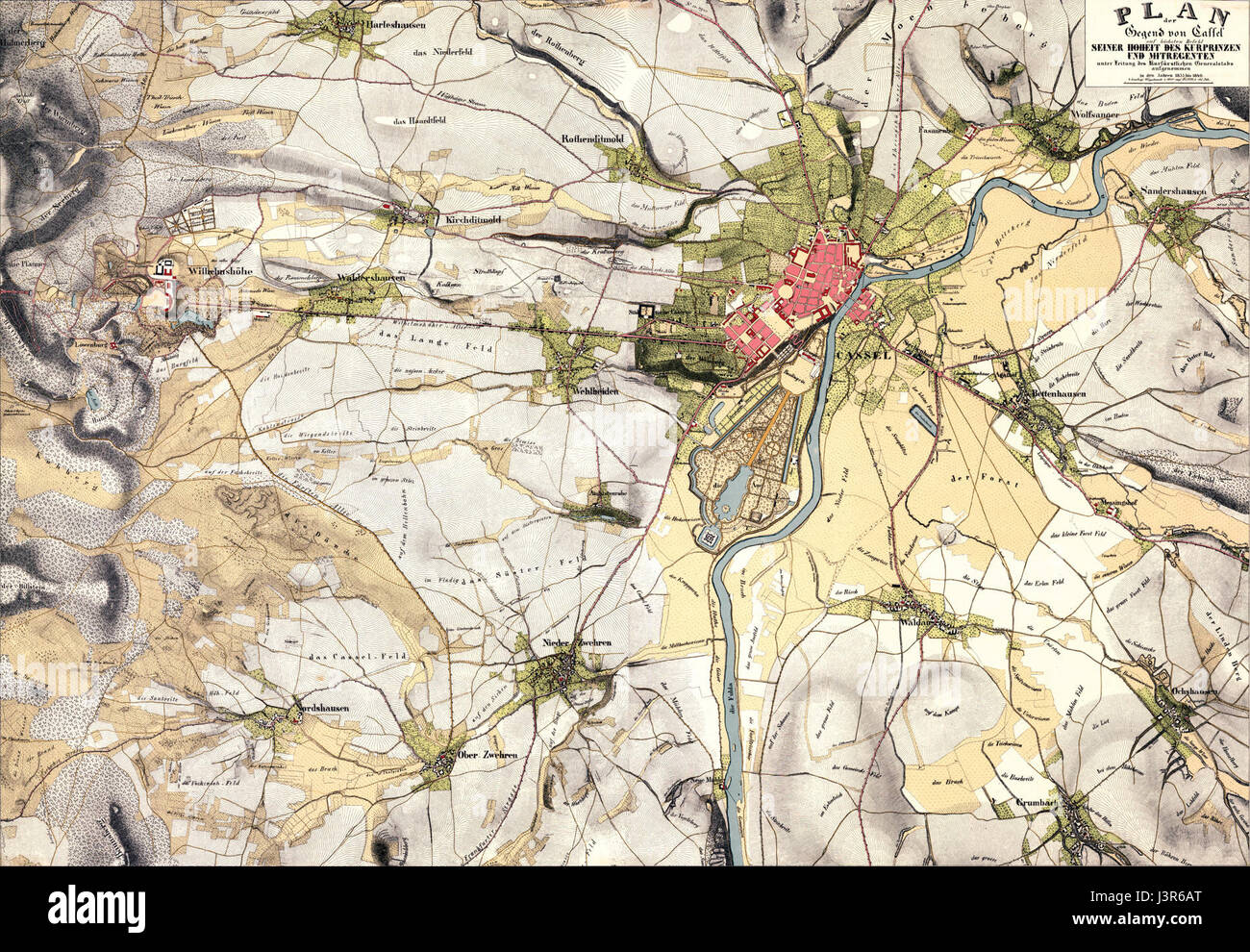 Karte Kassel Generalstab 1835 Stock Photo 140036816 Alamy