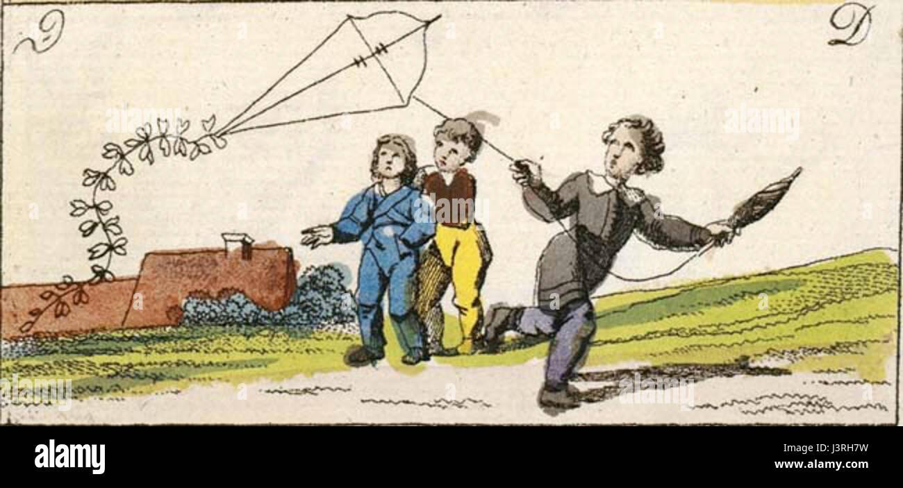 Kinderspiele 1828 Drachensteigen Stock Photo
