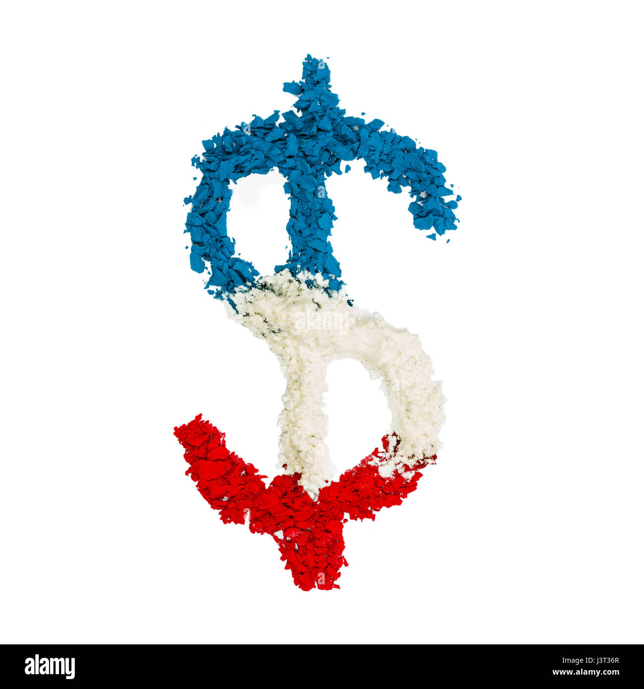 The US Dollar Sign made with red, white and blue color powder and isolated on a white background. - Stock Image