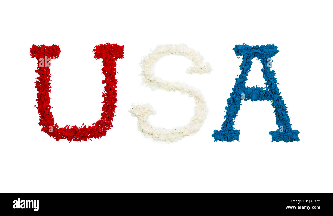 USA made in red, white and blue color powders, isolated on a white background - Stock Image