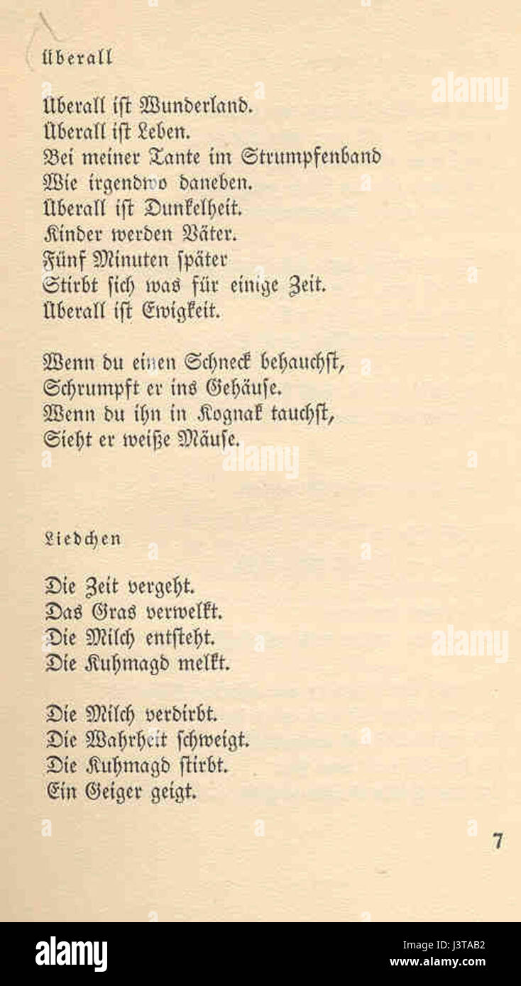 Joachim Ringelnatz 103 Gedichte 07 Stock Photo 140061910