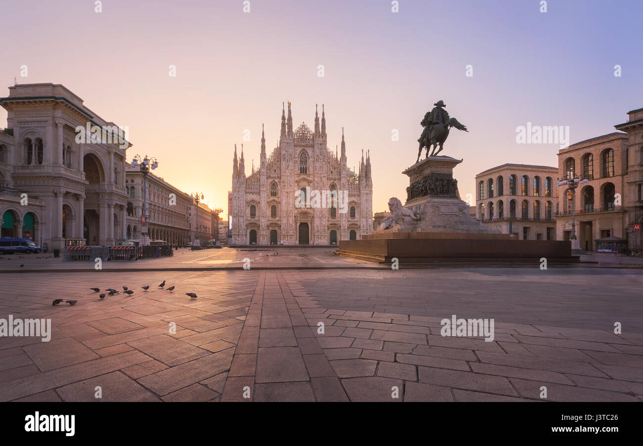Duomo , Milan gothic cathedral at sunrise,Europe.Horizontal photo with copy-space. - Stock Image