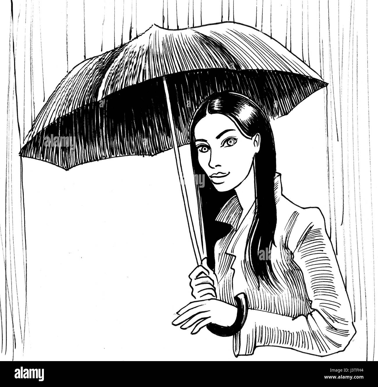 Lonely girl drawing black and white stock photos images