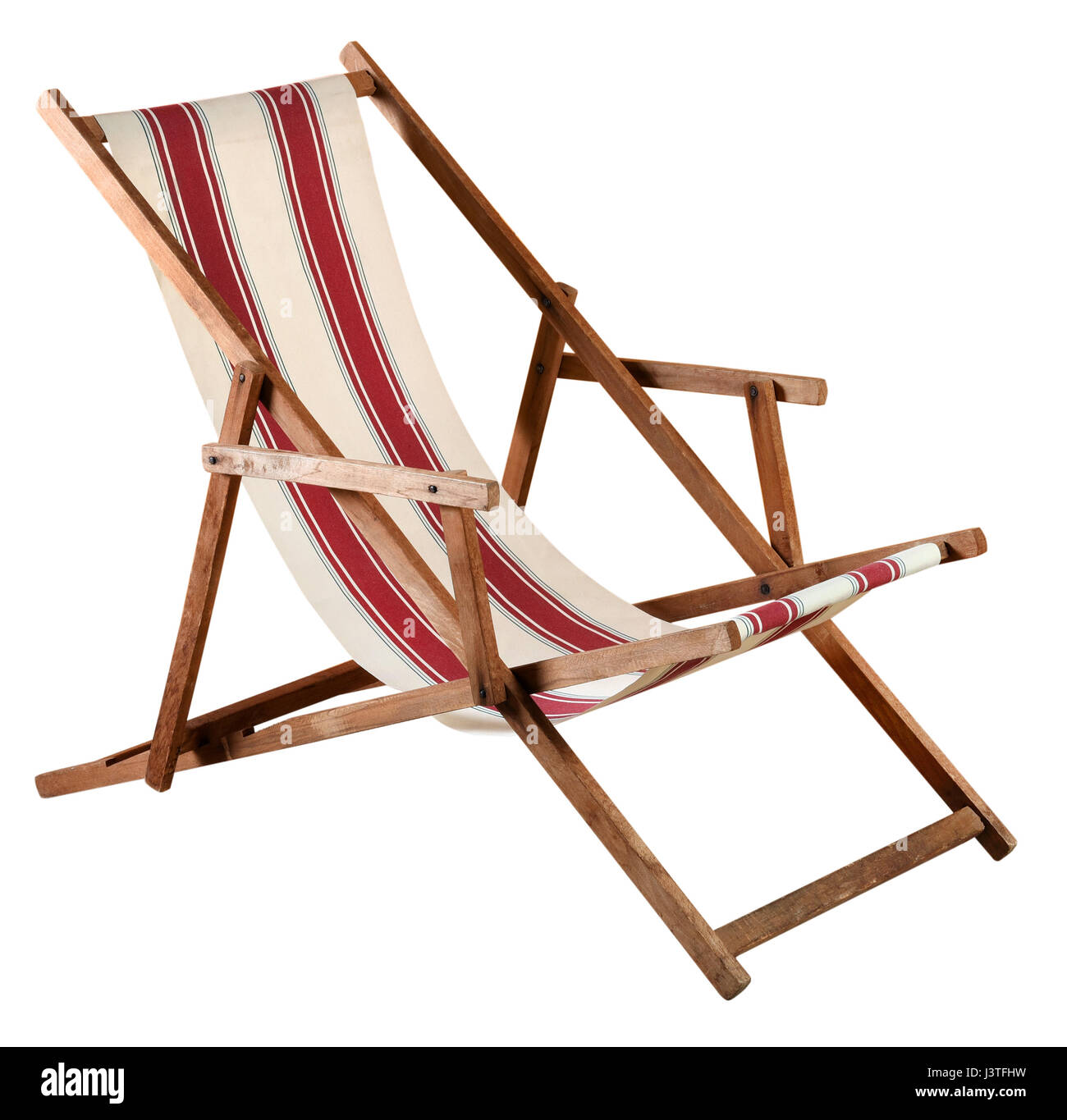Phenomenal Folding Wooden Deckchair Or Beach Chair With Striped Red And Ncnpc Chair Design For Home Ncnpcorg