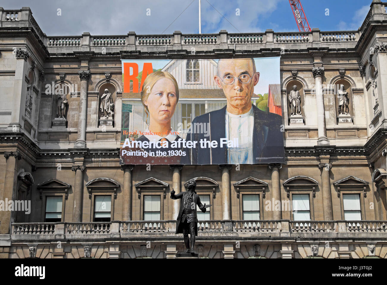 Royal Academy of Art poster  'America after the Fall' on the exterior facade of the building  April 2017 - Stock Image
