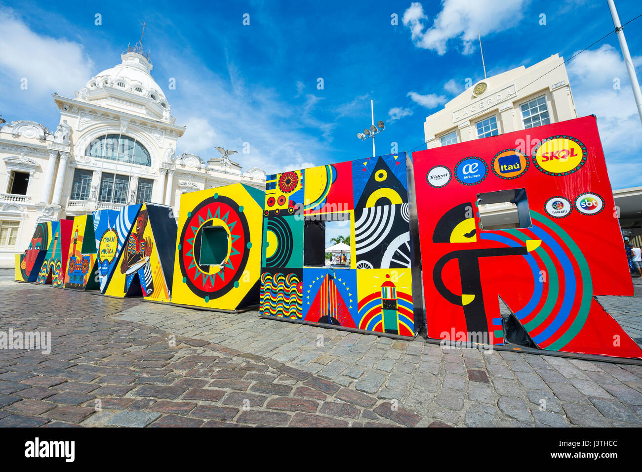 SALVADOR, BRAZIL - MARCH 9, 2017: Brightly colored sign spells out Salvador in all capital letters at the entrance - Stock Image