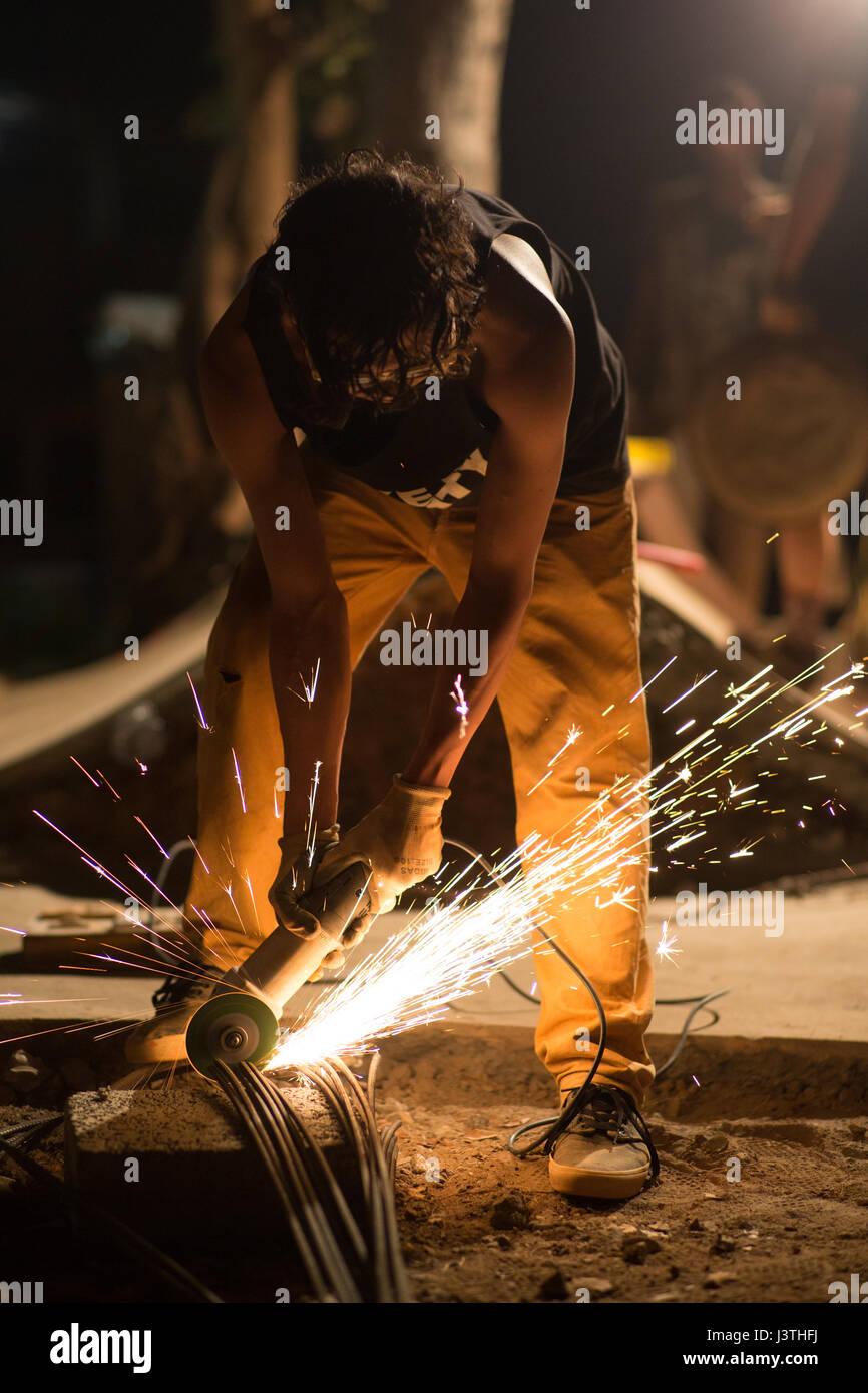 Diy welding at night. Stock Photo