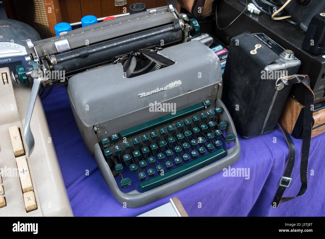 A used Remington manual typewriter at a secondhand items sale - Stock Image