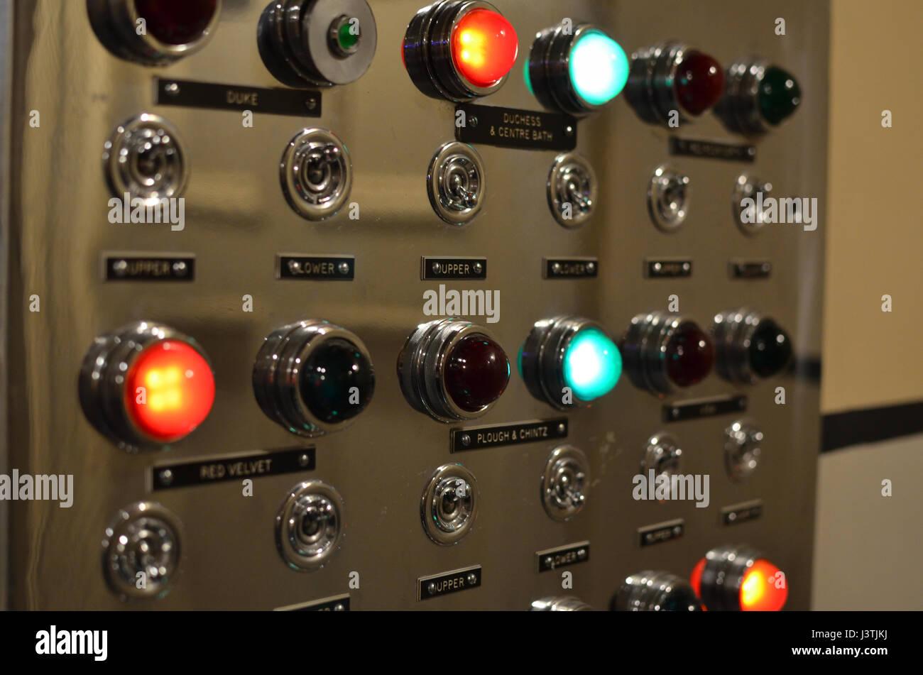 Control panels at Chatsworth House Derbyshire UK - Stock Image