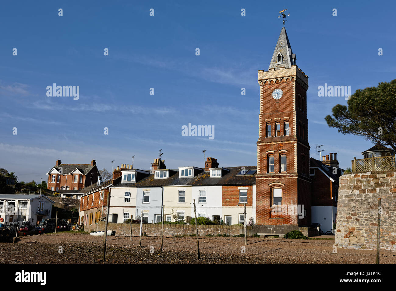 Peter's Tower Devon - Italianate brick clock tower at Lympstone on the River Exe estuary - Stock Image