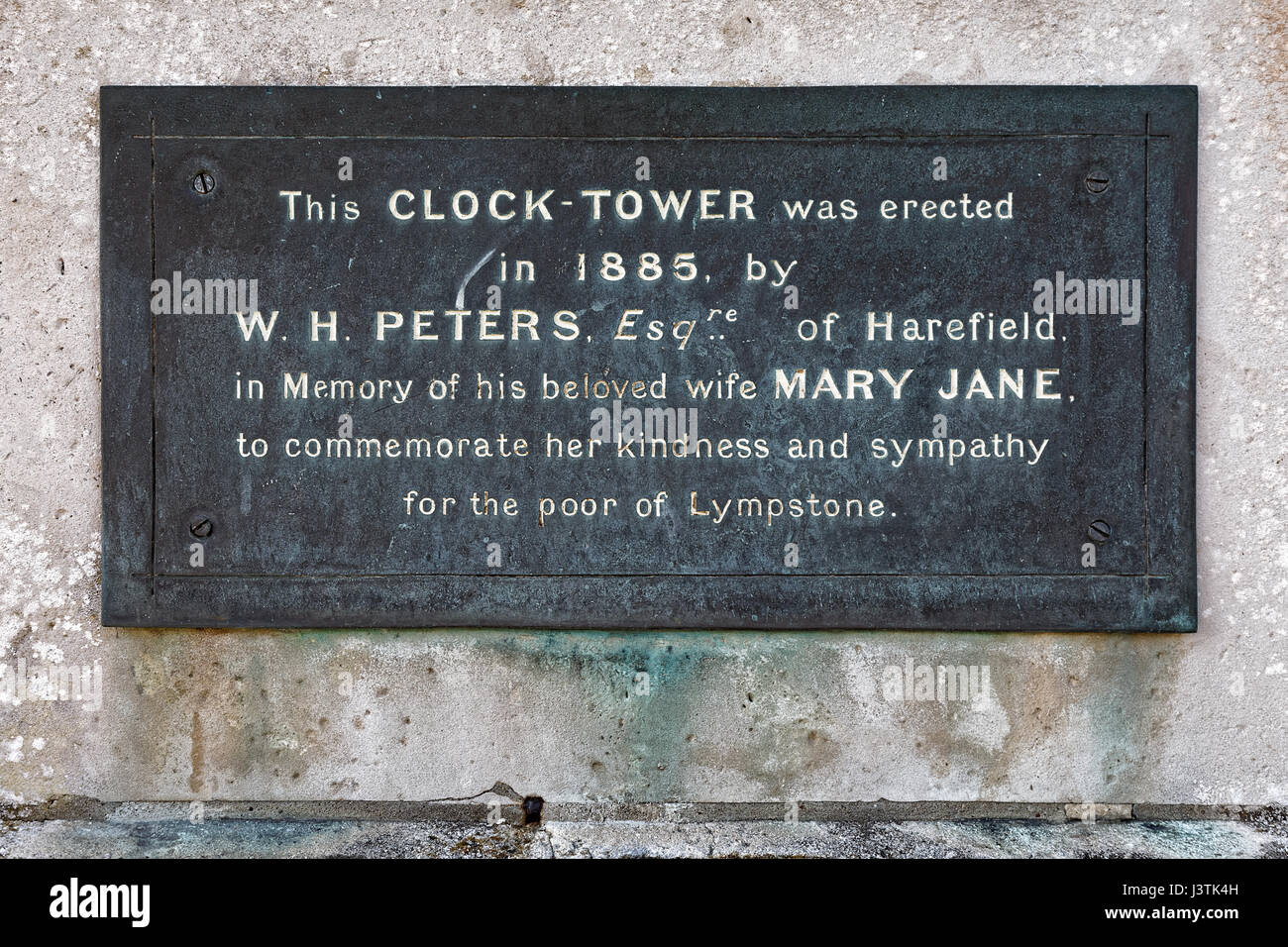 Peter's Tower Clock Tower Devon Memorial Plaque - Stock Image