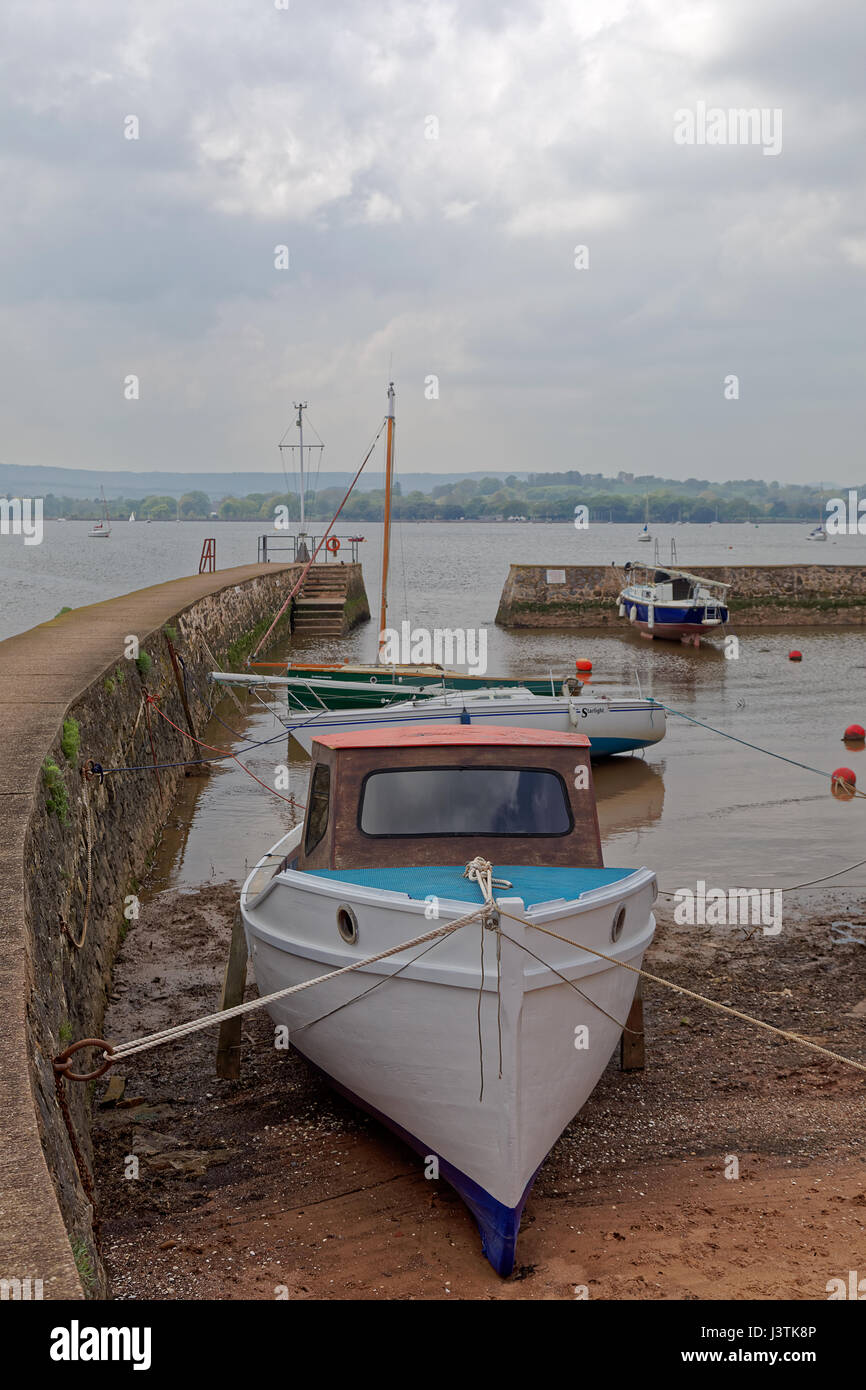 High tide in Lympstone boat shelter on the River Exe estuary - Stock Image