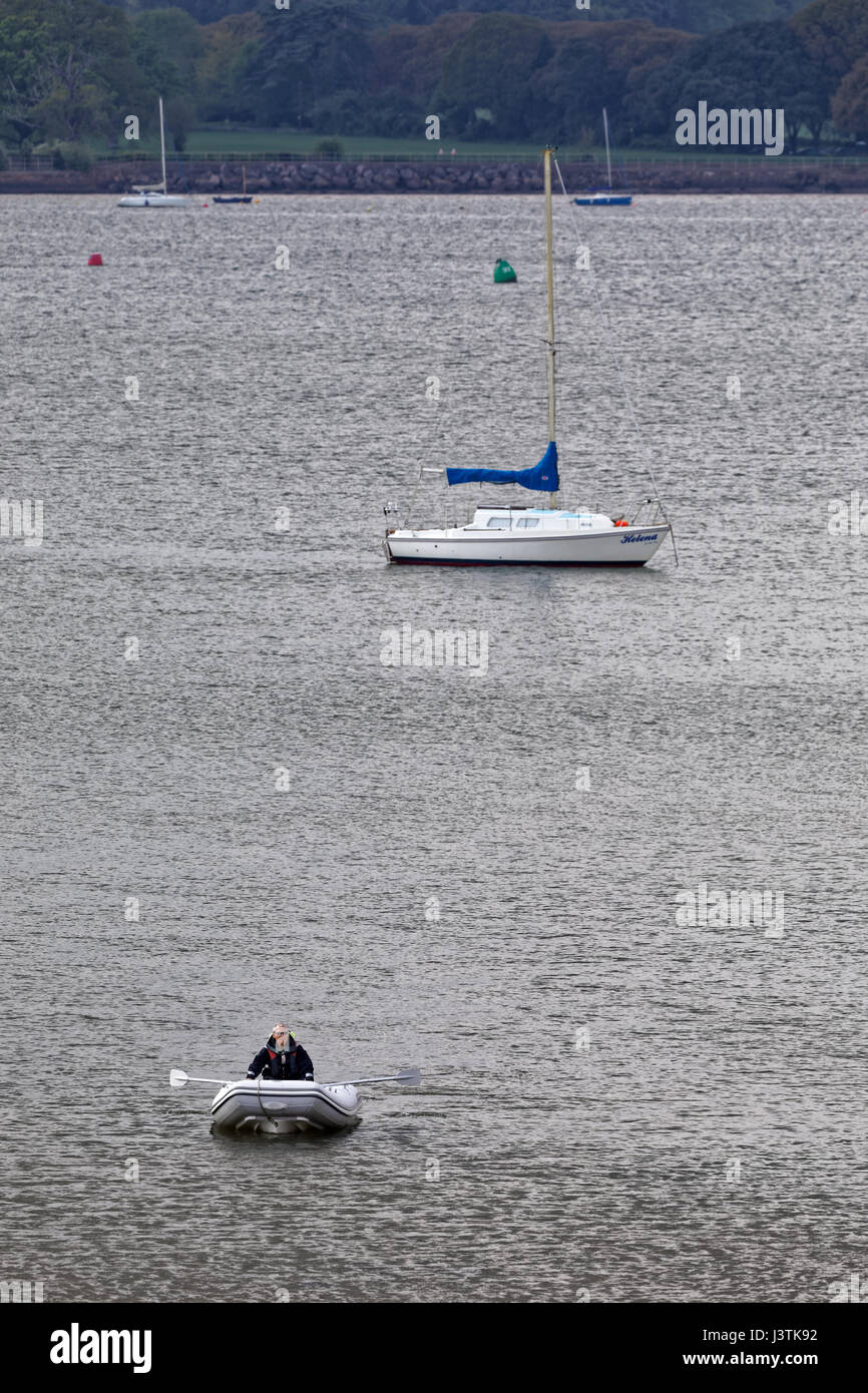 Man rowing boat across the River Exe estuary at Lympstone - Stock Image