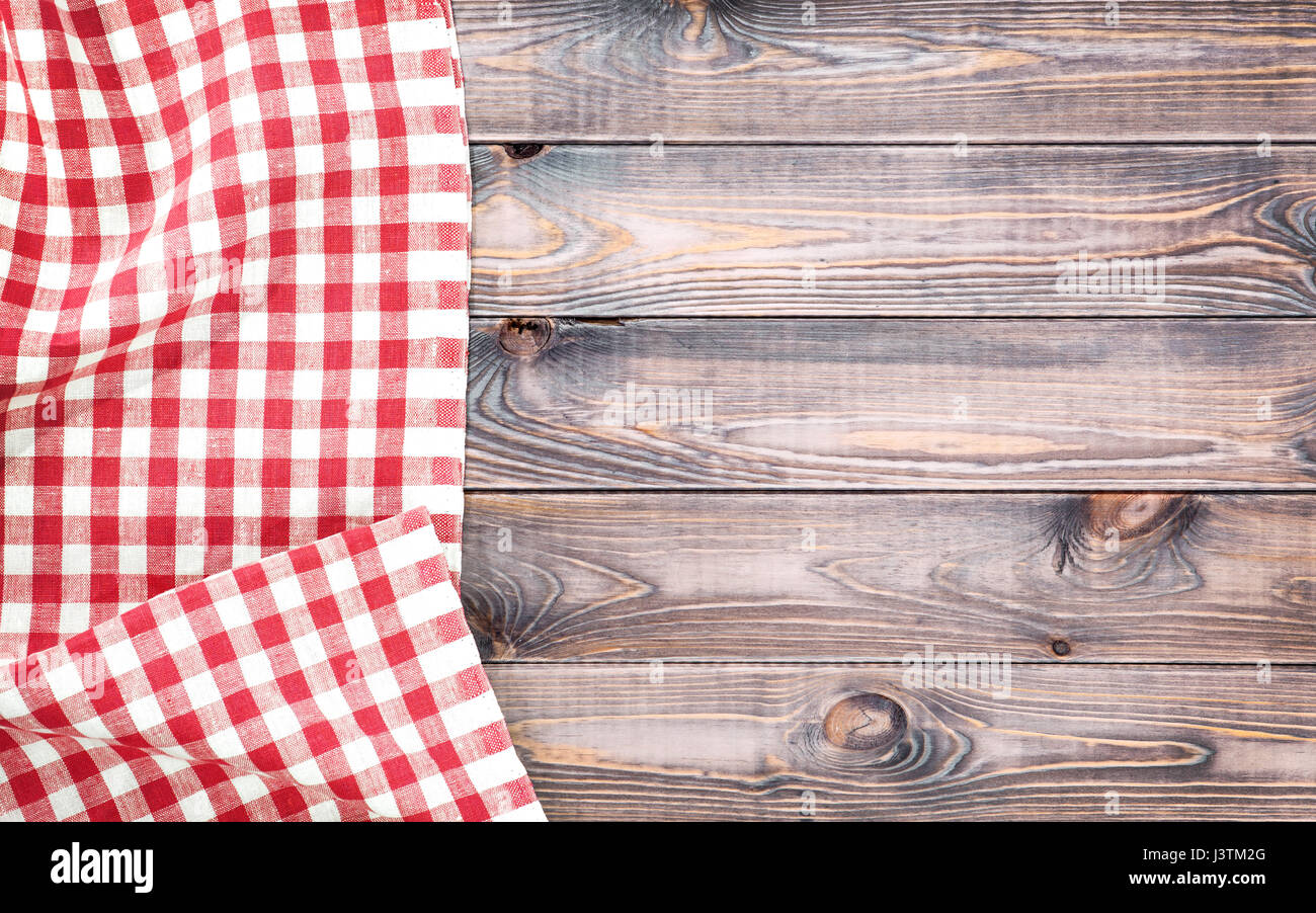 Red Checkered Tablecloth On Light Wooden Table With, Top View With Copy  Space
