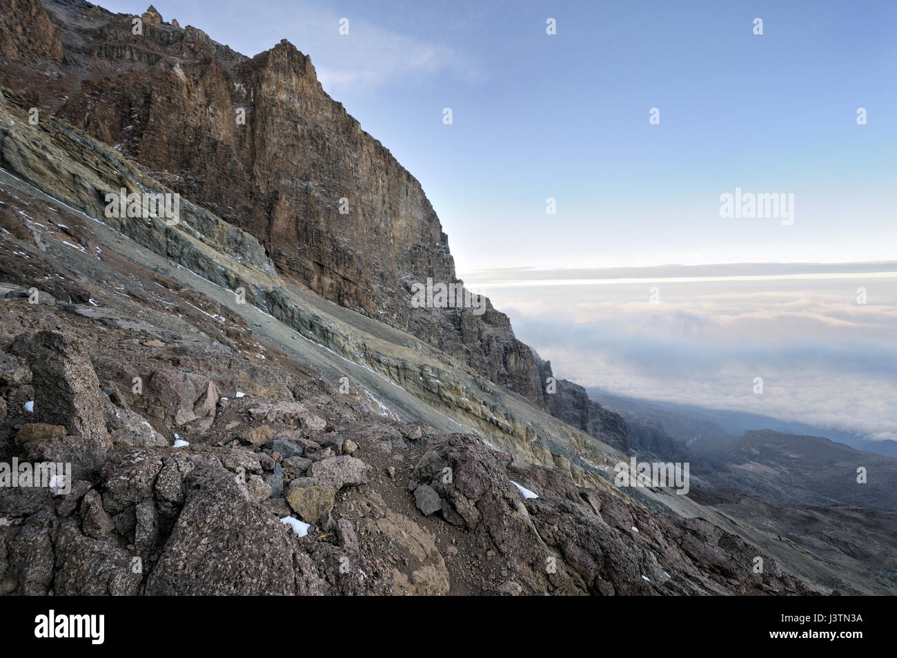 Cliffs of the Western Breach early in the morning, Mount Kilimanjaro National Park, Tanzania Stock Photo