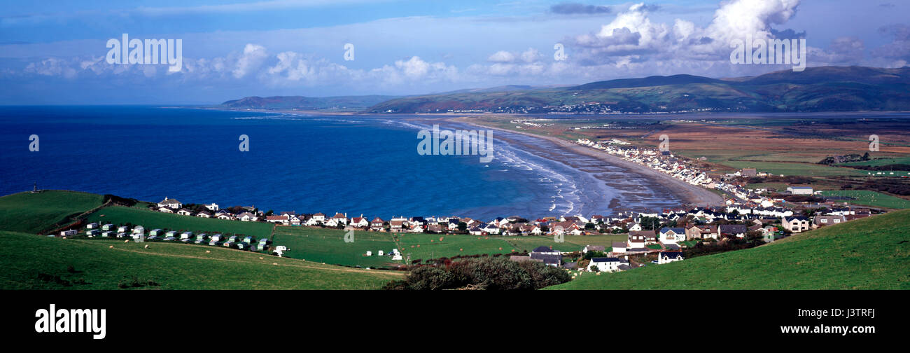 A panoramic view of the village and the beach at Borth in Ceredigion Cardiganshire Mid Wales - Stock Image