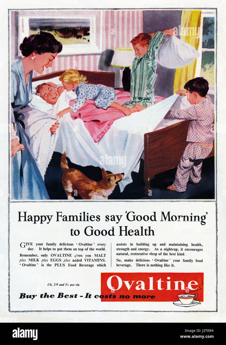 A 1950s advert for Ovaltine malt extract and milk drink. The advert appeared in a magazine in 1959 - Stock Image