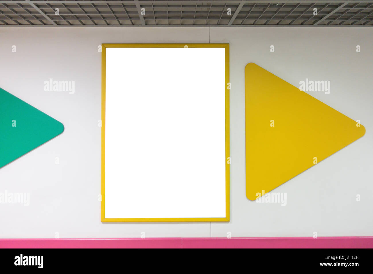 Mock up blank advertising poster frame with yellow frames hanging on ...