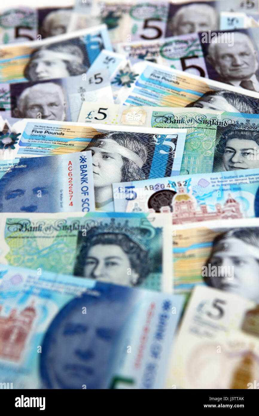 £5 polymer bank notes - Stock Image