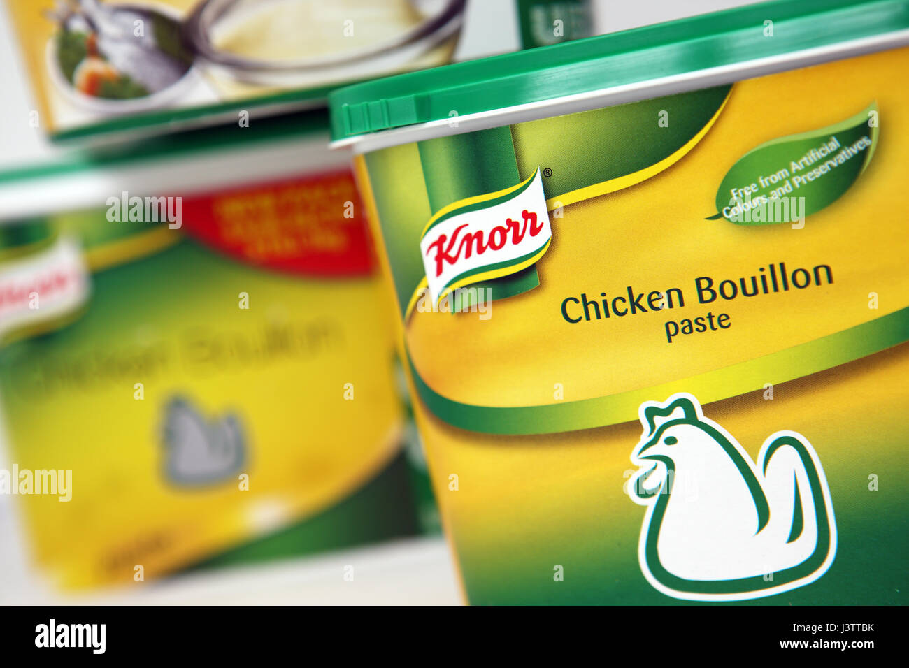 Know Chicken bouillon or stock - Stock Image
