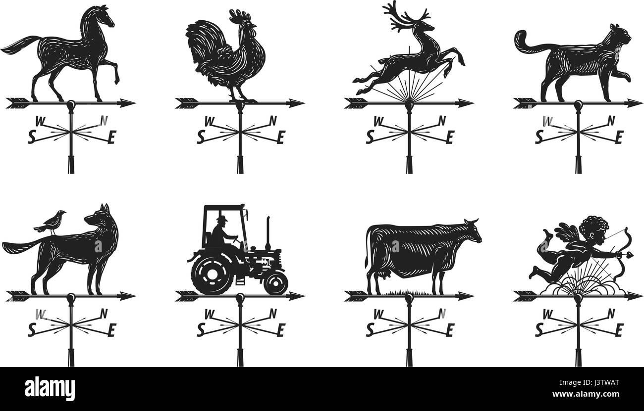 Weather vane silhouette, set icons. Windvane, weathervane symbol or logo. Vintage vector illustration - Stock Vector