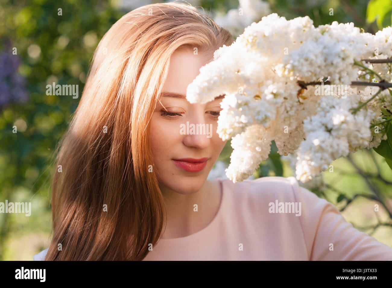 Beautiful woman with flowers of lilac skincare stock photo beautiful woman with flowers of lilac skincare izmirmasajfo