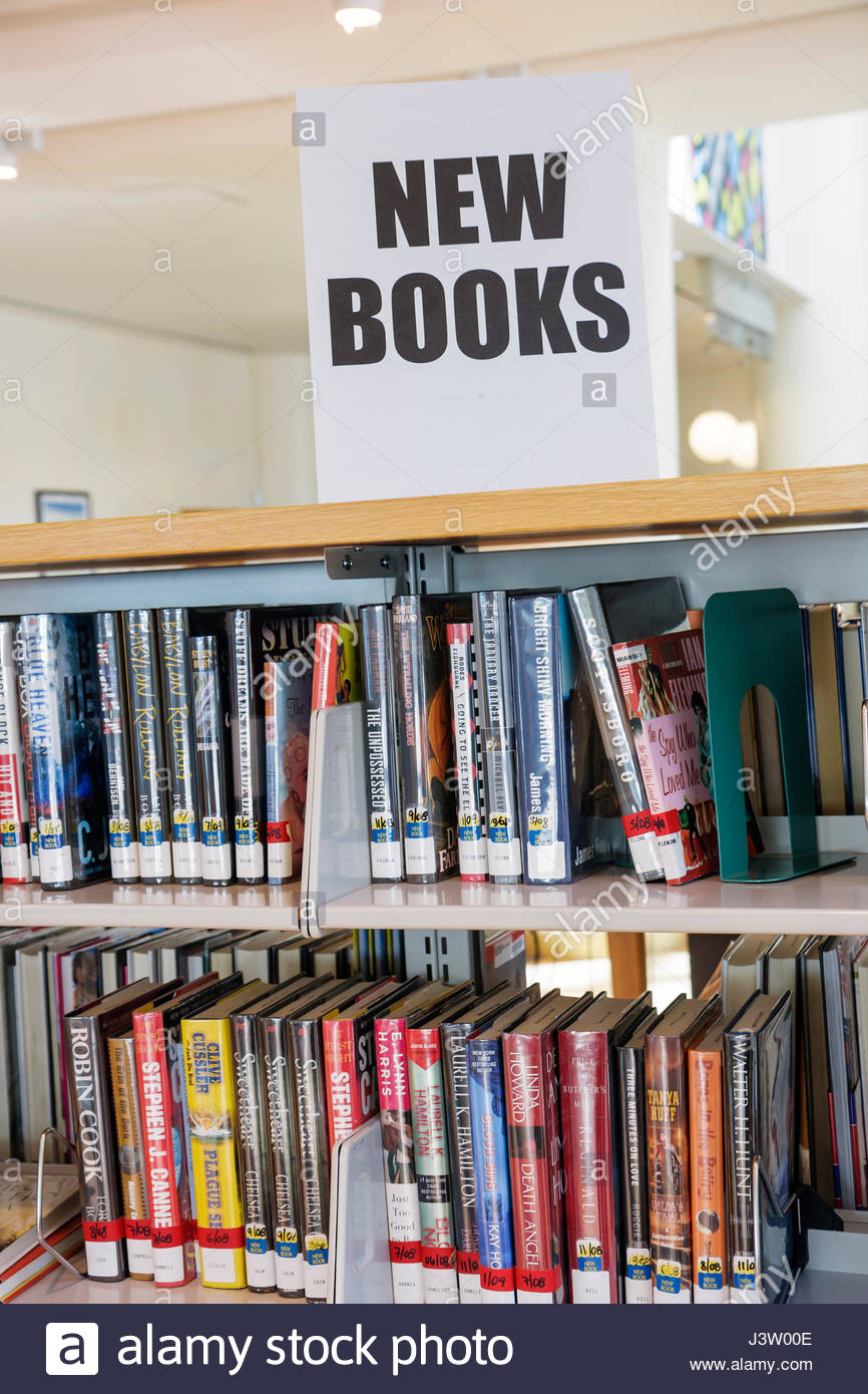 Miami Beach Florida Public Library Bookshelf New Books Sign Collection Reading Education